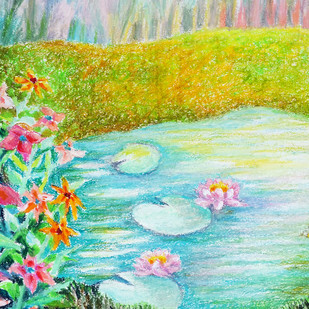 Flowers by a pond by Shalini Sinha, Impressionism Painting, Oil Pastel on Paper, Green color