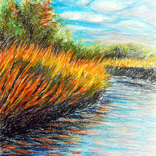 Grass on fire by Shalini Sinha, Impressionism Painting, Oil Pastel on Paper, Cyan color