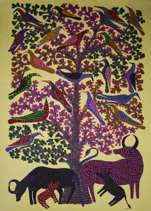 Gond art by Unknown Artist, Tribal Painting, Acrylic on Canvas, Brown color