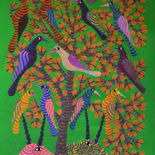 Gond art by Unknown Artist, Tribal Painting, Acrylic on Canvas, Green color