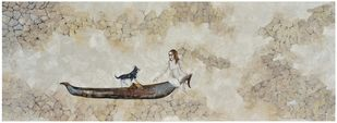 Dry Land Creates Life by Sharmi Chowdhury, Expressionism Painting, Mixed Media on Wood, Beige color
