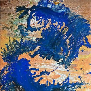 Horses by Kartikey Sharma, Abstract Painting, Acrylic on Canvas, Blue color