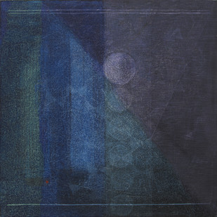 untitled by Hanumantha Rao Devulapalli, Geometrical Painting, Oil & Acrylic on Canvas, Blue color
