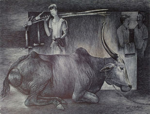 Untitled by Satish Multhalli, Illustration Drawing, Acrylic & Ink on Paper, Gray color