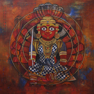 Goddess shakthi-17 by Rajeshwar Nyalapalli, Expressionism Painting, Acrylic on Canvas, Brown color