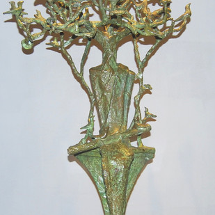 Pied Piper by Tushar Kanti Das Roy, Art Deco Sculpture   3D, Bronze, Gray color
