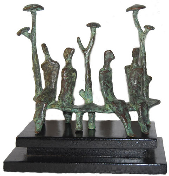 Couples by Tushar Kanti Das Roy, Art Deco Sculpture | 3D, Bronze, Gray color