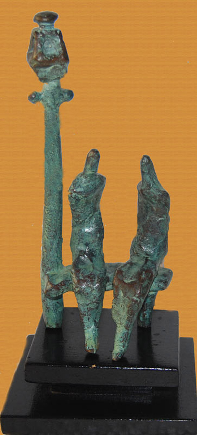 Couple by Tushar Kanti Das Roy, Art Deco Sculpture | 3D, Bronze, Brown color
