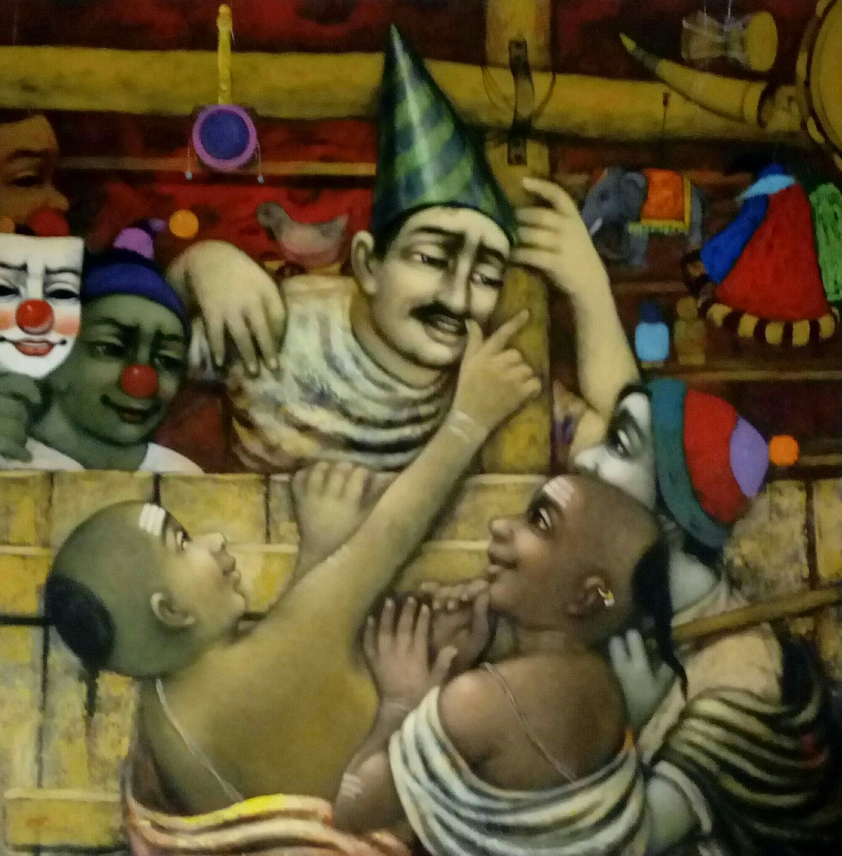Toys shop by Apet Pramod Mahadev, Expressionism Painting, Acrylic on Canvas, Brown color