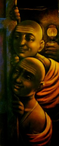The Night by Apet Pramod Mahadev, Expressionism Painting, Acrylic on Canvas, Brown color