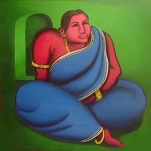 Motia by Subrata Saha, Expressionism Painting, Oil on Canvas, Green color