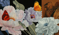 Flower with butterflies5 by Sulakshana Dharmadhikari, Impressionism Painting, Oil on Canvas, Brown color