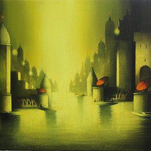 Holy Banaras by Somnath Bothe, Impressionism Painting, Acrylic on Canvas, Green color