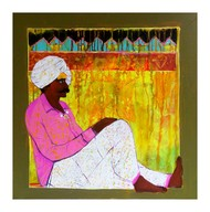 Shepherd.. by Ganesh Jadhav , Expressionism Painting, Acrylic on Canvas, Beige color