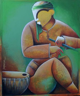 Solo rhythms by anupam pal, Decorative Painting, Acrylic on Canvas, Green color