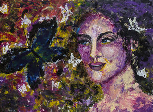 Vibrance by Shveta Saxena, Expressionism Painting, Acrylic on Canvas, Brown color