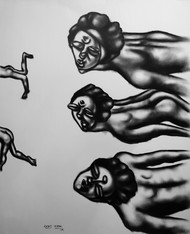 distraction by Rajat Verma, Illustration Painting, Charcoal on Paper, Gray color