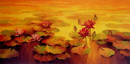 Waterlilies by Swati Kale, Impressionism Painting, Oil on Canvas, Orange color
