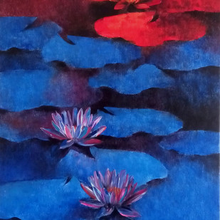 Waterlilies by Swati Kale, Impressionism Painting, Oil on Canvas, Blue color