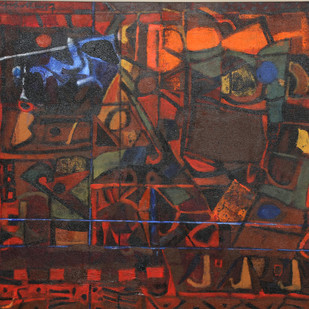Untitled by Achuthan Kudallur, Abstract Painting, Acrylic on Canvas, Brown color