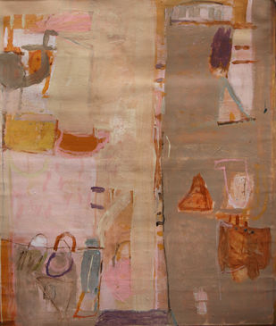 Untitled by John Tun Sein, Abstract Painting, Acrylic on Canvas, Brown color