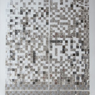 Untitled by Mona Rai, Geometrical Painting, Mixed Media on Canvas, Gray color