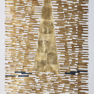 Untitled by Mona Rai, Geometrical Painting, Mixed Media on Canvas, Beige color