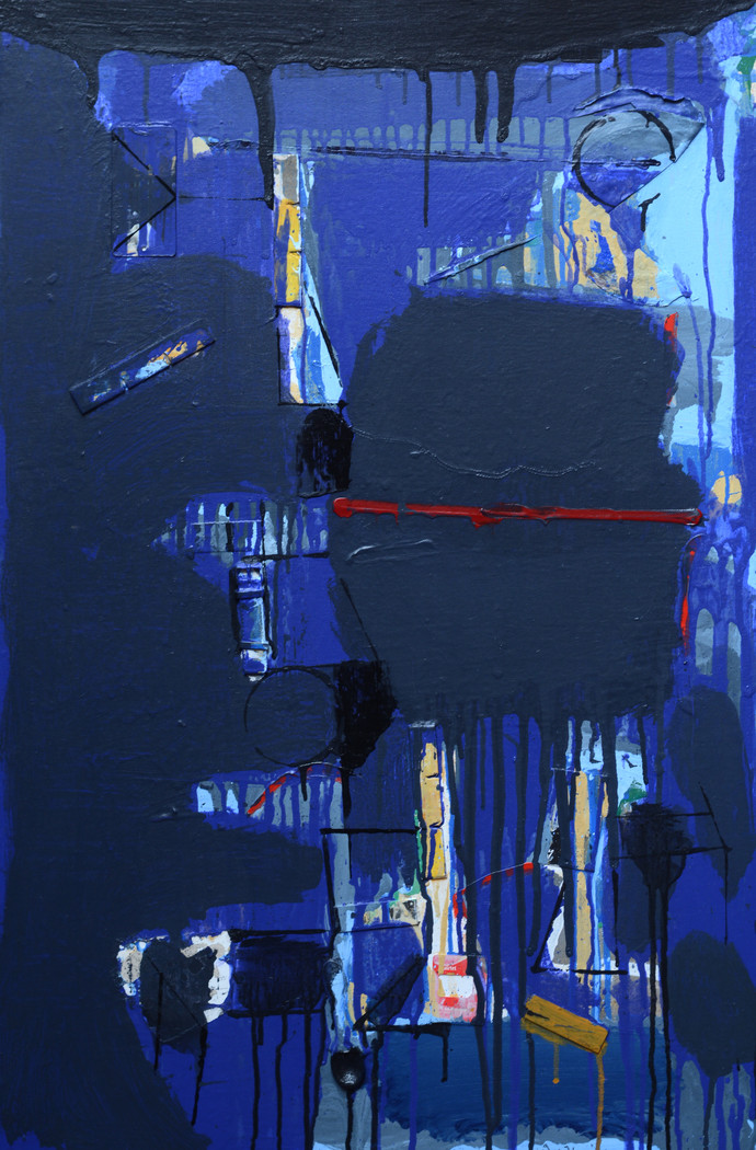 Untitled by Prabhakar Kolte, Abstract Painting, Mixed Media on Board, Blue color