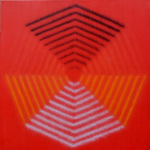 Untitled by Shobha Broota, Geometrical Painting, Acrylic on Canvas, Red color