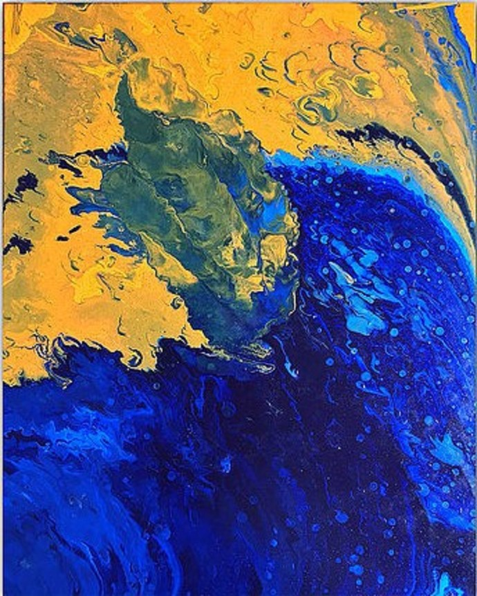 Untitled 016 by Kartikey Sharma, Abstract Painting, Acrylic on Canvas, Blue color