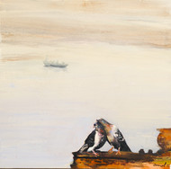 love in Benaras by Jamal Ahmed, Expressionism Painting, Acrylic on Canvas, Beige color