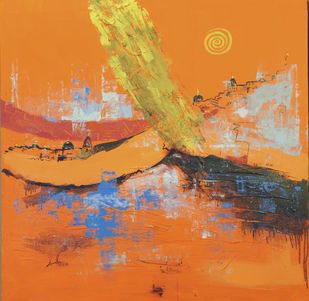 Benares by Anita Bhattarai, Abstract Painting, Acrylic on Canvas, Brown color