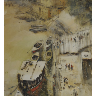morning in Varanasi by Sultan Ishtiaque, Impressionism Painting, Watercolor on Paper, Brown color