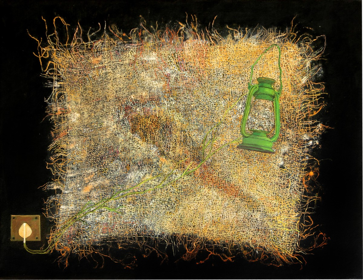 Green Lantren by Geetha Ramasesh, Expressionism Painting, Mixed Media on Canvas, Brown color