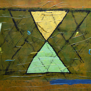 Untitled by S Harshavardhan, Geometrical Painting, Mixed Media on Canvas, Green color