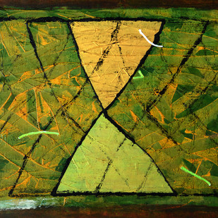 Untitled by S Harshavardhan, Abstract Painting, Mixed Media on Canvas, Green color