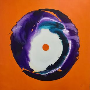 Fireball by Vernika , Abstract Painting, Acrylic on Canvas, Orange color