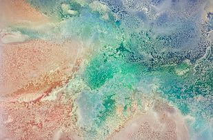 A view from the sky by Vernika , Abstract Painting, Mixed Media on Canvas, Beige color