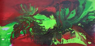 Tropic by Vernika , Abstract Painting, Acrylic on Canvas, Green color