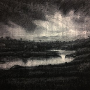 Misty Lake by Pradip Kate, Illustration Drawing, Charcoal on Canvas, Gray color