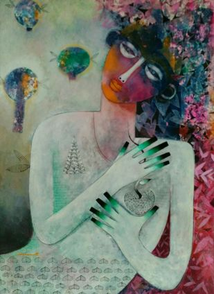 Roots and wings-1 by Jayavanth Shettigar, Expressionism Painting, Acrylic on Paper, Green color