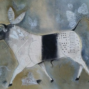 Force by Jayavanth Shettigar, Expressionism Painting, Acrylic on Paper, Gray color