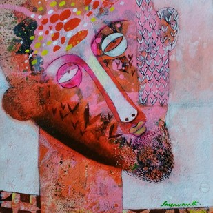 Artist by Jayavanth Shettigar, Expressionism Painting, Acrylic on Paper, Brown color