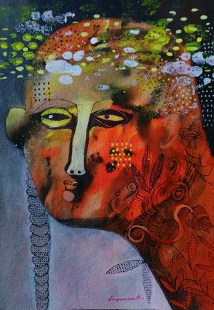 Roots and wings-3 by Jayavanth Shettigar, Expressionism Painting, Acrylic on Paper, Brown color