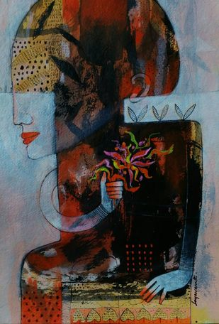 Roots and wings-4 by Jayavanth Shettigar, Expressionism Painting, Acrylic on Paper, Brown color