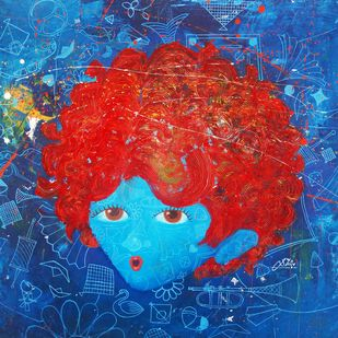 The Innocence ix by shiv kumar soni, Expressionism Painting, Mixed Media on Canvas, Blue color