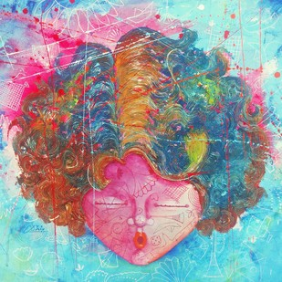 The Innocence xi by shiv kumar soni, Expressionism Painting, Mixed Media on Canvas, Cyan color
