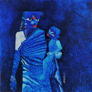 A mother and child by sharath kumar , Expressionism Painting, Acrylic on Paper, Blue color