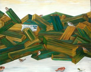 Painted logs Digital Print by Geetha Ramasesh,Expressionism