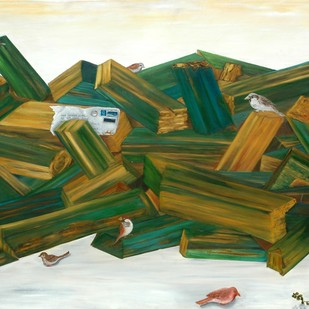 Painted logs by Geetha Ramasesh, Expressionism Painting, Oil on Canvas, Green color